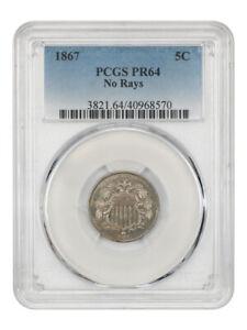 1867 5c PCGS PR 64 (No Rays) Shield Nickel - Low Mintage Proof
