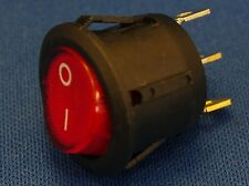 Round Rocker Neon Indicator Switch ON-OFF 3 Pins Switches SPST 6A 3PCs