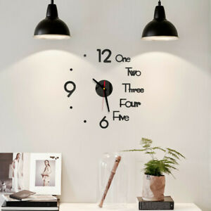 DIY Digital Wall Clock 3D Mirror Surface Sticker Silent Clock Home Office Decor