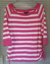 Womens LAUREN Ralph Lauren Knit Top Shirt Size XL Pink White Striped Ruching