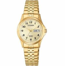 Ladies Citizen Quartz Stainless Stretch Expansion Gold Dial Watch EQ2002-91P