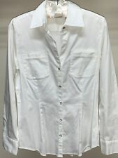 NEW Womens Chico's Silver Button Down Off White Career Long Sleeve Shirt Size 0