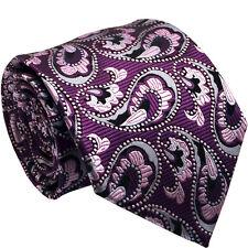 100% Soie Violet motif Cachemire Hommes Cravate Jacquard Tissé Mariage Prom formelle Hommes Cravate
