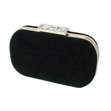 BLACK VELVET CLUTCH EVENING PURSE HANDBAG