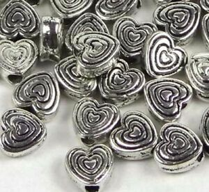 25 Antique Silver Pewter Heart 6mm Beads