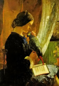 Dream-art Oil painting Walter Howell Deverell - the grey parrot lady & her pet