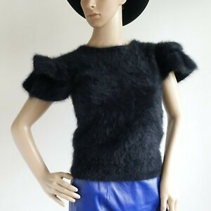 Vintage Black Nicole Miller for PJ Walsh 100% Angora Sweater Ruffle Cap Sleeve