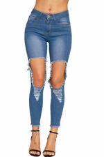 High Waist Jeans Women's Distressed Machine Washable