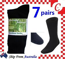 7Pr 90%BAMBOO SOCKS Men's Heavy Duty Premium Thick Work BLACK Bulk New Size 6-11