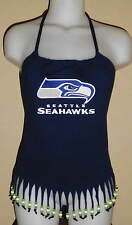 Womens Seattle Seahawks Reconstructed NFL Football Shirt Fringe Halter Top DiY