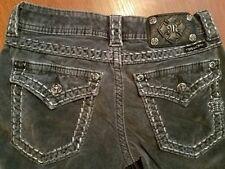 Miss Me Gray Corduroy Bootcut Pants size 25 Stretch Jewels Flap Pockets CP4019B1
