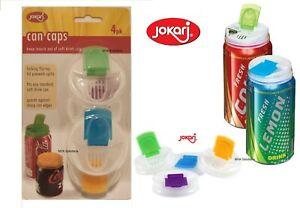 New Jokari Can Cap Drink Lid Stopper Locking Flip Top Reusable Set of 4