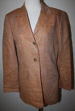 ESCADA Ley Orange Tan Bone Herringbone Woven Look LS Linen Jacket Blazer 36 6 8