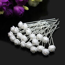 20x Crystal Rhinestone White Flower Hair Pins For Party Wedding Hair decoration