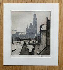 Farbradierung Josef Eidenberger (1899–1991) Farbradierung. Stadt im Winter.