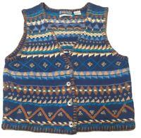 Size medium Vintage 80s 90s Southwestern fleece vest 1980s 1990s Denim Republic Southwestern design soft fleece vest