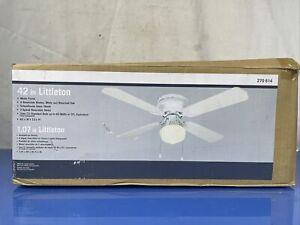 NIB Littleton 42 in Ceiling Fan w Light Standard Bulb 4-Blade 3-Speed White NEW