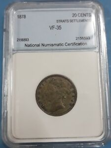 1878 Straits Settlements 20 Cents VF-35 (Silver 0.800)