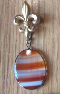 Fleur De Lis Chatelaine Brooch W/ Natural Agate stone Cabochon Dangle Charm