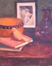 WOOD BOWL, CLAY BIRD  impressionist American oil painting  Margaret Aycock