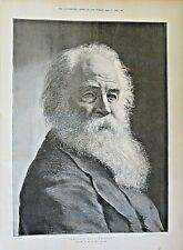 THE LATE WALT WHITMAN, (1819 - 1892), Writer, Poet, Vintage 1892 Antique Print