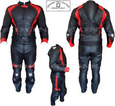 Tute in pelle e altri tessuti rosso con protezioni schiena per motociclista