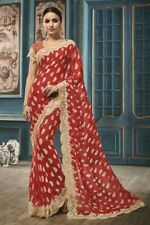 Online Fancy Look Valentine Red Color Georgette Party Wear Printed Saree Sari