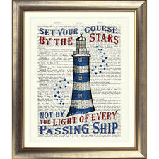 ART PRINT DICTIONARY BOOK PAGE Vintage NAUTICAL SEA LIGHTHOUSE Seaside Bathroom