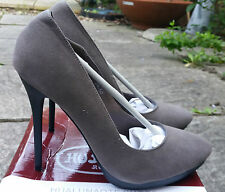New HUALUNAOTE Khaki Faux Suede High Heel Stiletto Heel Court Shoes Size 5