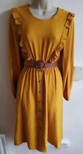 New Stunning Size S 8 Belted Mustard Yellow Midi Dress Cottagecore Boho ASOS