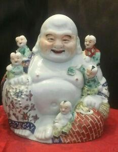 "Vintage Hotei Happy Laughing Buddha Children Boys 10"" Chinese Figurine"