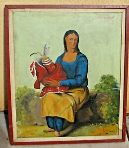 Seated Seminole Indian Woman Circa 1893 Purchased from Chicago World's Fair oil