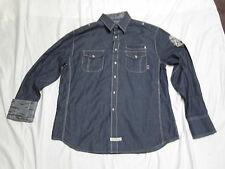 ENGLISH LAUNDRY LS Button Up PEOPLES ARMY Blue Pearl Snaps Sewn Casual Shirt XL