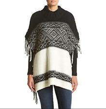 RUFF HEWN Womens Sweater Poncho White Black L/XL Winter Ski Wear Soft Warm NWT