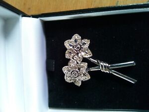 Vintage Flower Brooch White Metal And Clear Stones