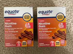 2 Equate Coated Nicotine Gum 4mg Cinnamon Flavor 100 ct Exp 08/23 VS Nicorette