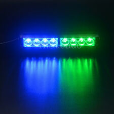 Blue Green Car 8 LED Warning Strobe Light Recovery Beacon Emergency Bar Lamp 12V