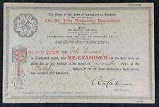 """St John Ambulance Certificate """"Voucher"""" Berkeley 1924 First Aid to John Cormack"""