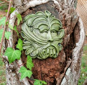The Handsome Green Man, Concrete Garden Decor by Noted American Artist R. Warsin