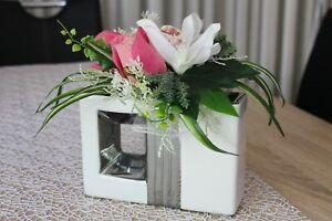 Moderne Deko Vase weiß silber Kunstblumen Keramik Blumenvase Gesteck Blumen 28cm