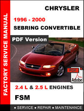 Car truck service repair manuals for chrysler ebay chrysler sebring convertible 1996 1997 1998 1999 2000 service repair manual fandeluxe Image collections