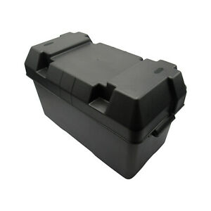 Black Leisure Battery Box with Straps (Caravan Boat Motorhome Car)