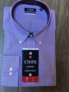 Chaps performance button shirt mens 18 32/33 BIG no wrinkle purple gingham K1