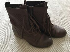 Brown Madden Girl Lace Up Boots Size 6 Mesh Design Faux Leather