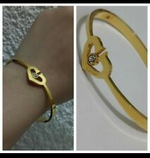 SaLE - SSB85 18k Gold Plated Stainless Steel Heart and Simulated Diamond Bangle