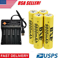 4 Pack Rechargeable Batteries Li-ion 3.7V Battery with USB 4-Slot Charger