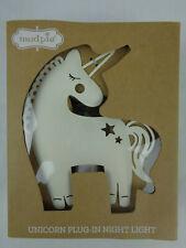 """Mud Pie Blush Baby Nursery Decor Metal 6"""" Unicorn Night Light 12000155 New Nip"""