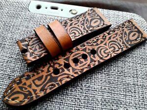 24mm AMMO  Handmade quality leather watch strap,army  maori tattoo