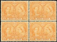 1897 Mint NH Canada F+ BLOCK Scott #51i 1c Diamond Jubilee Stamps