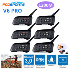 6pcs V6 pro 1200m Helmet Intercom Bluetooth Motorcycle Group Talking for 6 Rider